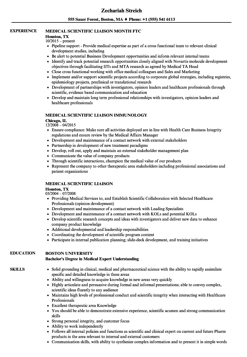 medical science liaison sample resume