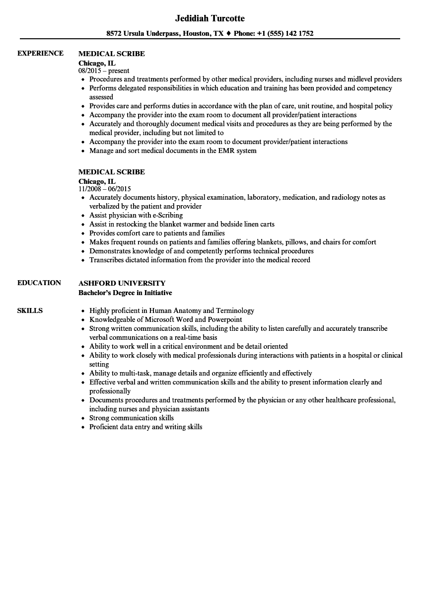 example resume for scribe job