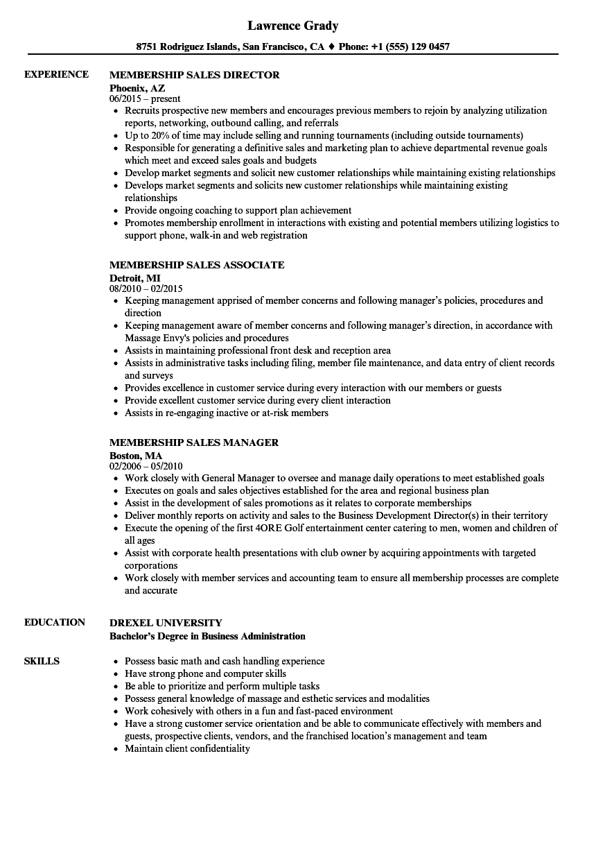 resume gym sales
