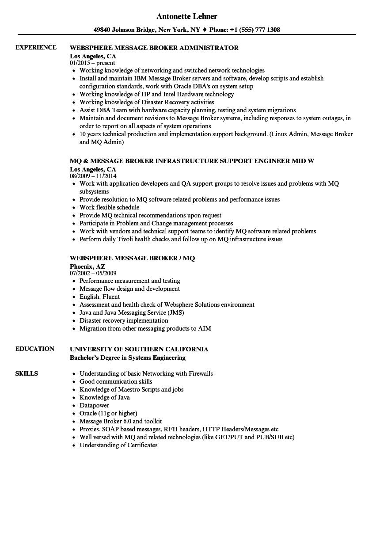 websphere message broker resume sample