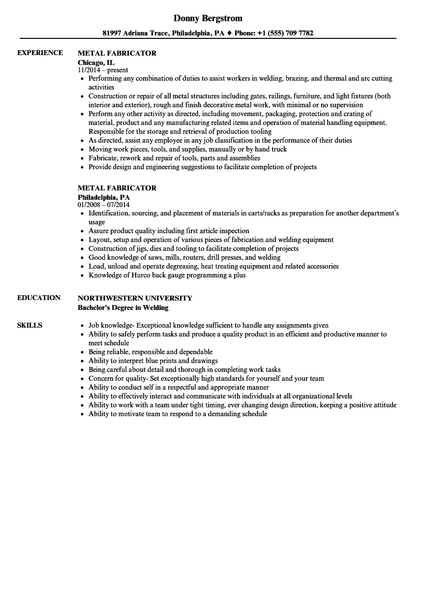 metal fabrication resume samples