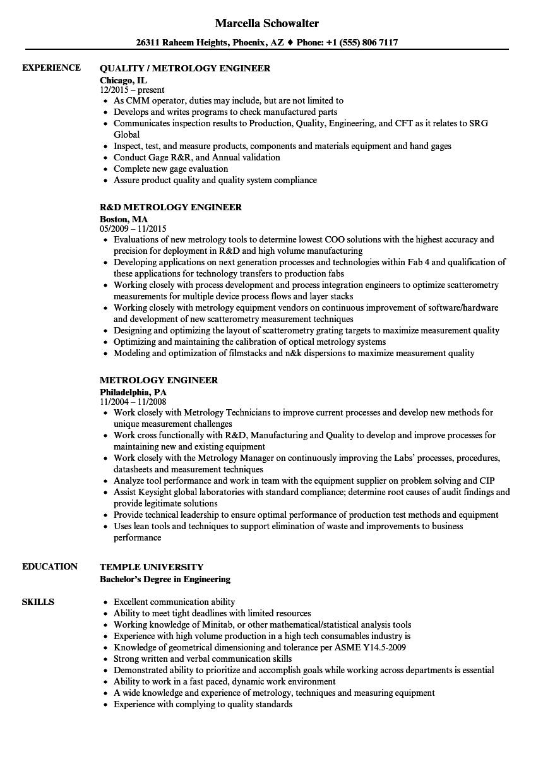 metrology resume sample