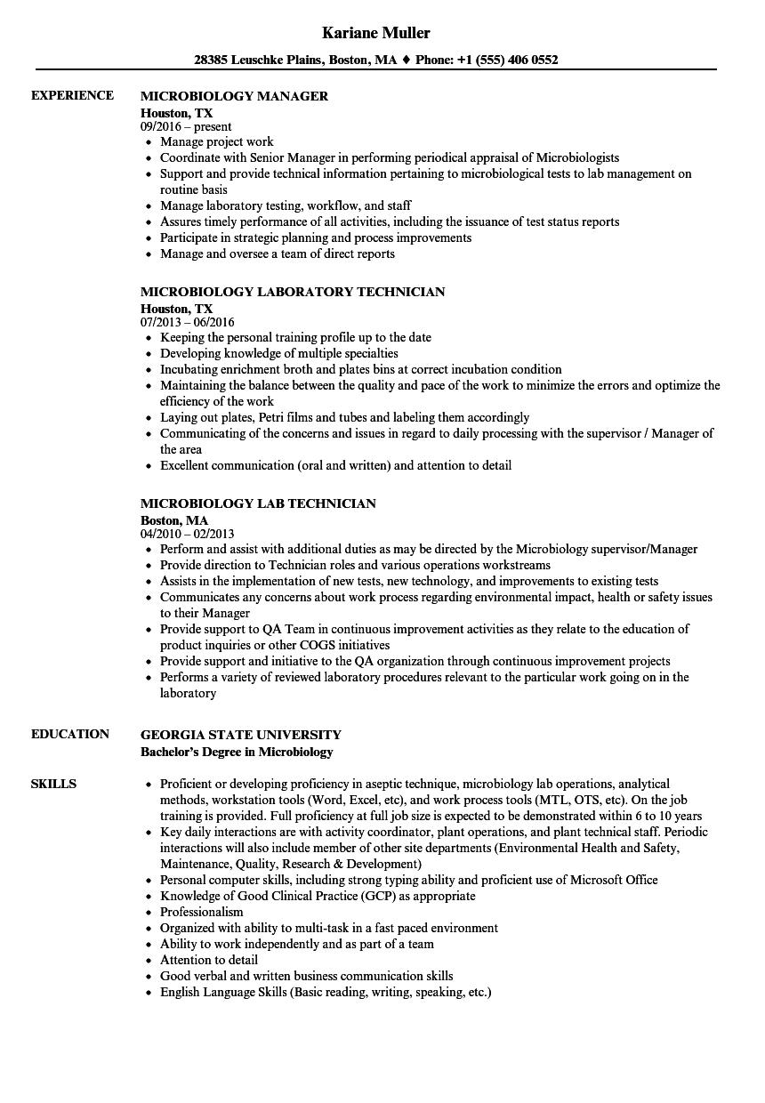 sample resume for microbiology freshers