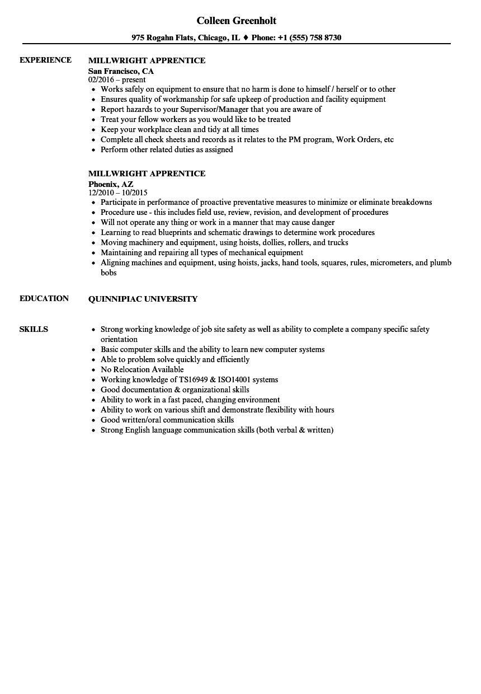 millwright apprentice resume sample