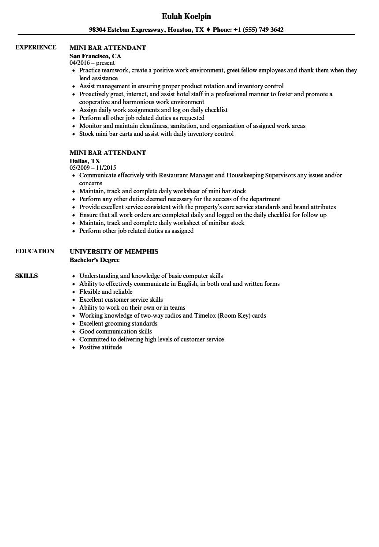 bar attendant resume sample