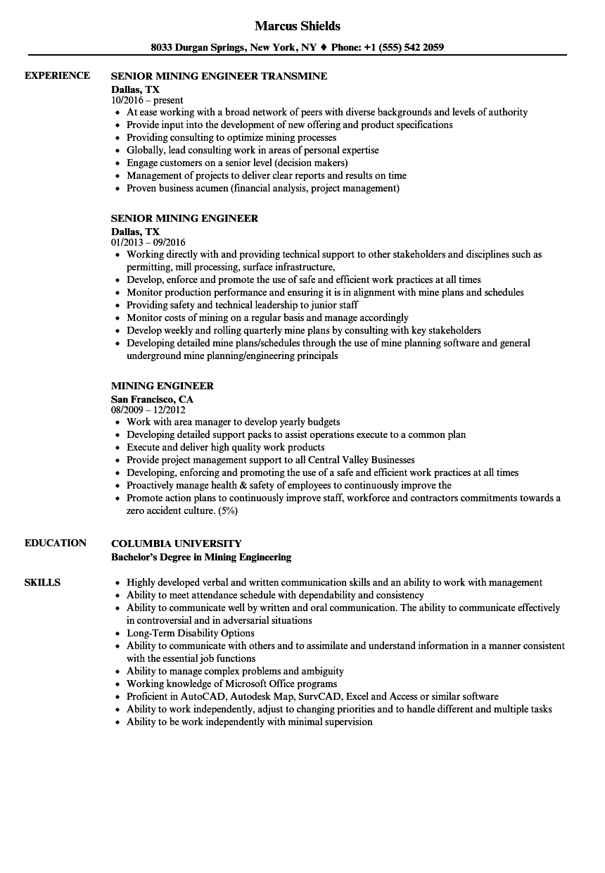 resume examples for mine jobs