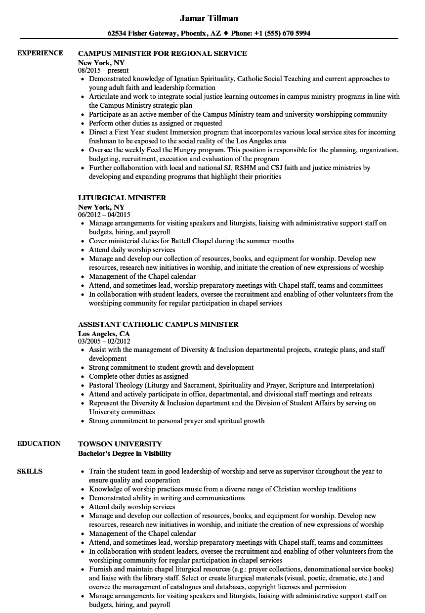 ministry resume examples