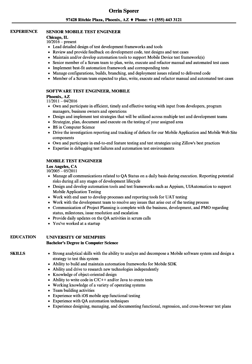 sample resume software test engineer experience
