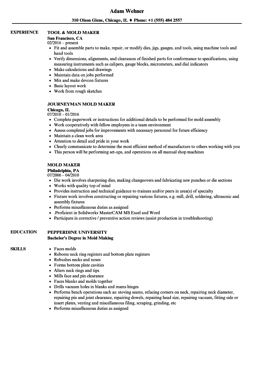 mold maker resume examples