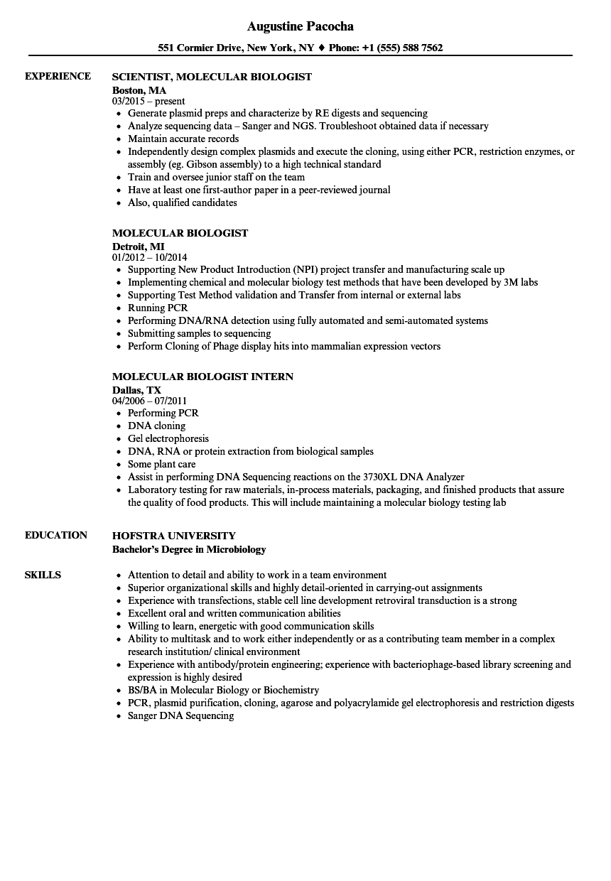 molecular and cellular biology resume example