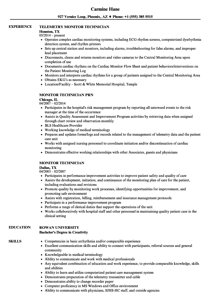 monitor tech resume examples