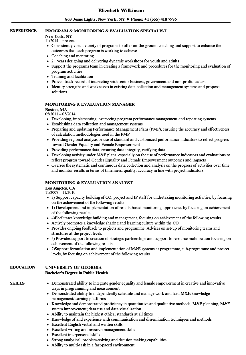 monitoring and evaluation specialist cv sample
