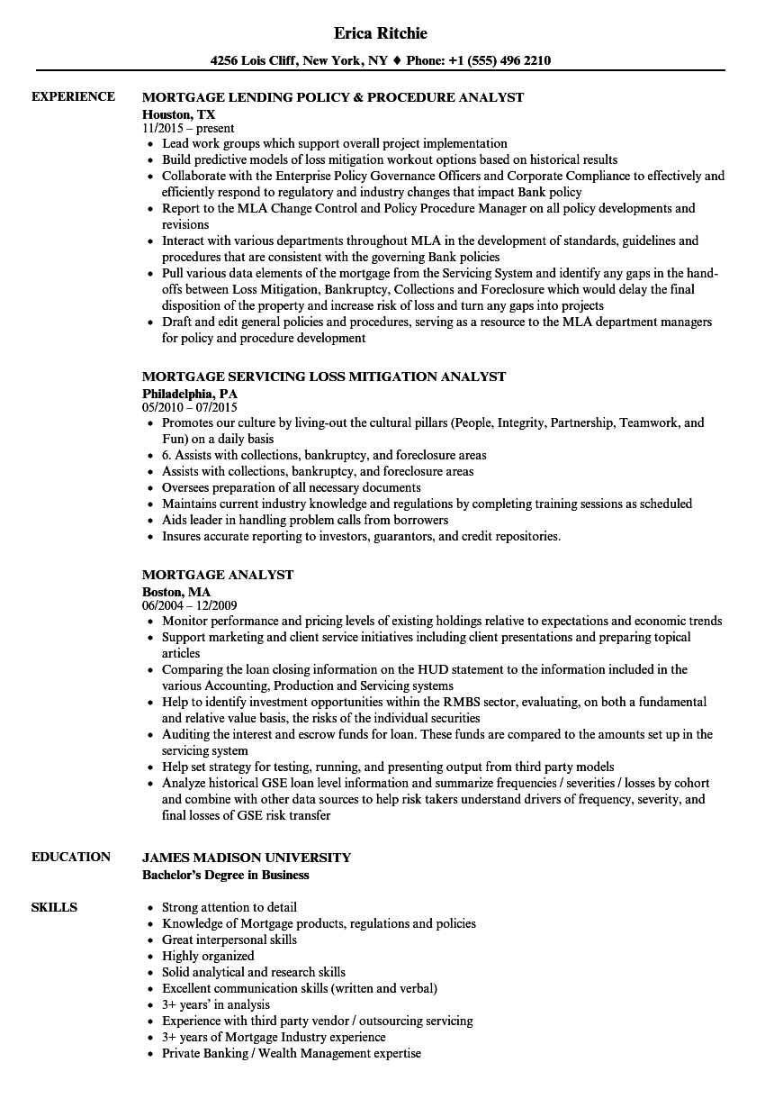 resume examples for mortgage analyst