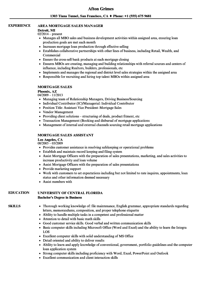 mortgage sales manager resume examples