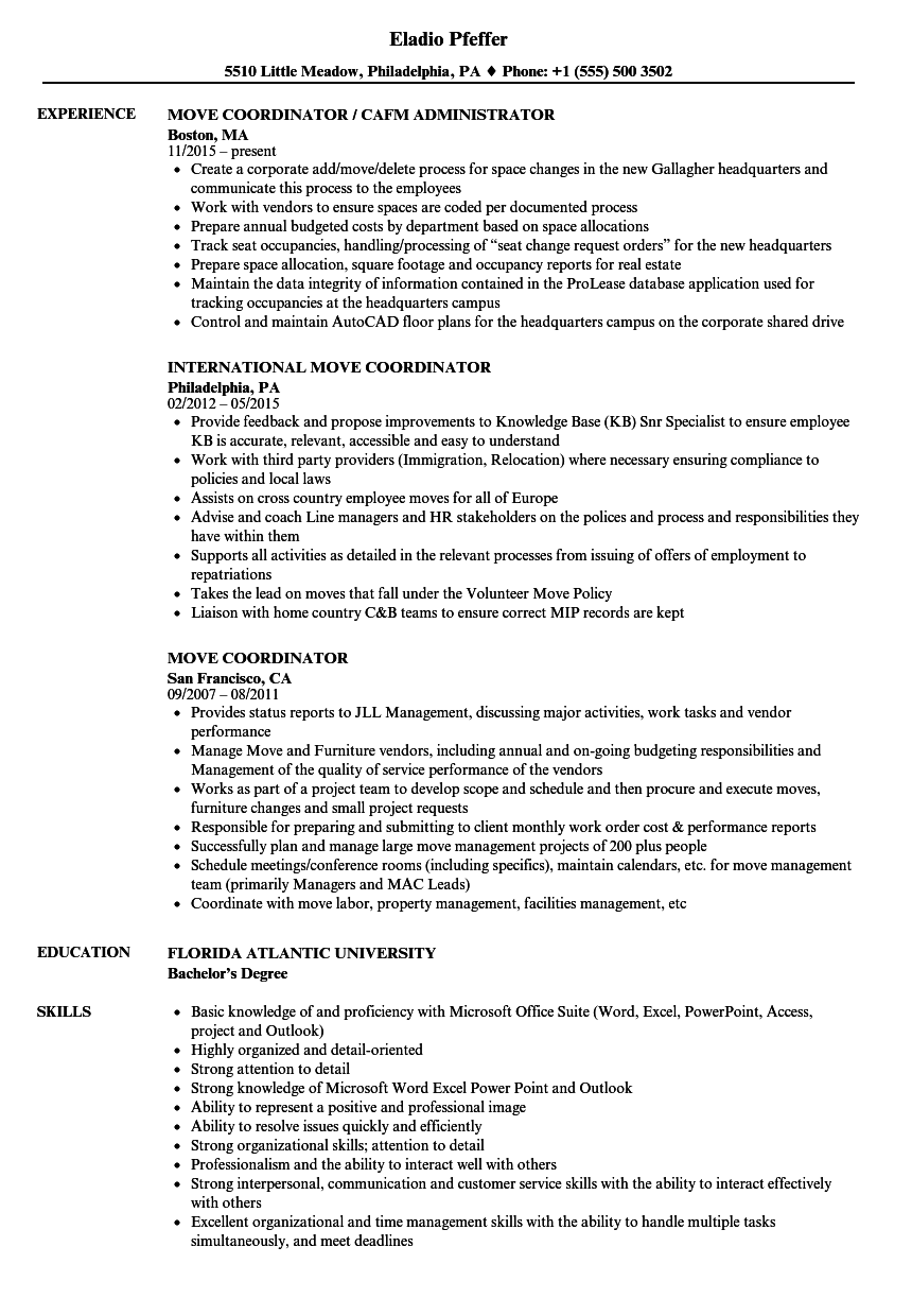 move coordinator resume sample