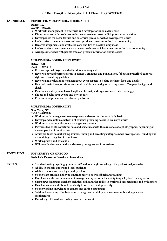 sample journalist resume