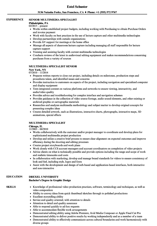 multimedia resume samples download