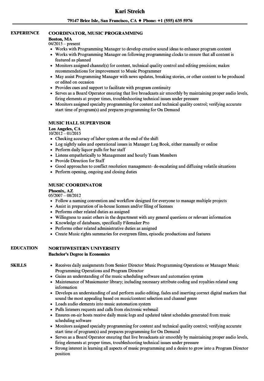 sample resume for music jobs