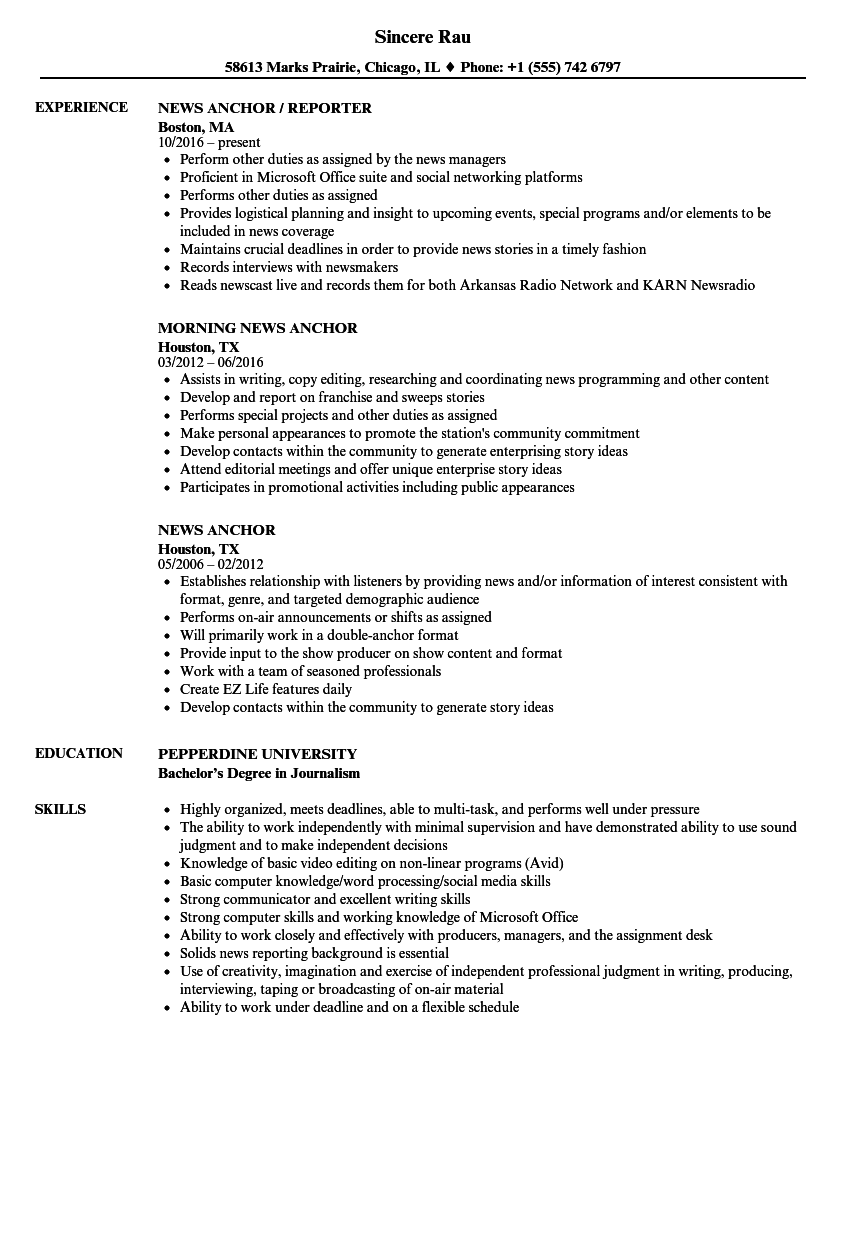 journalists resume template