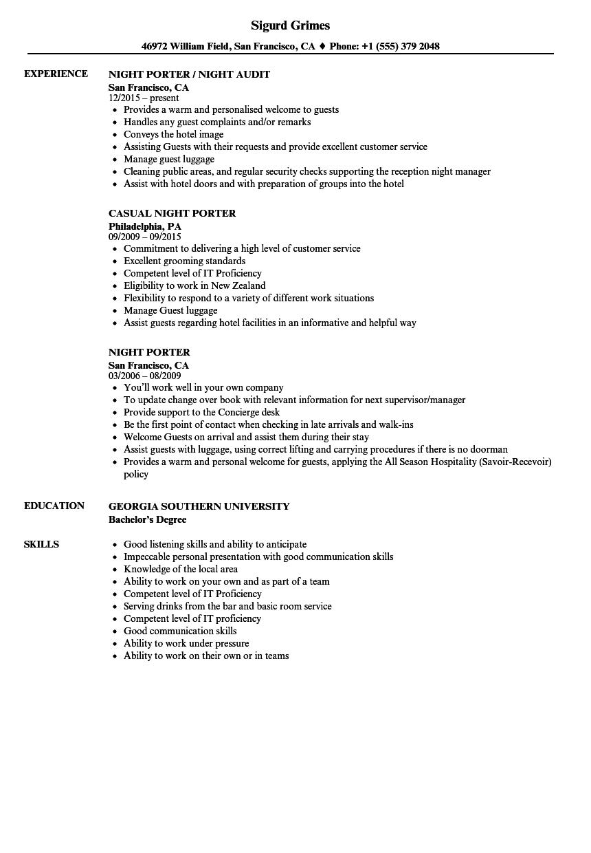 kitchen porter resume sample