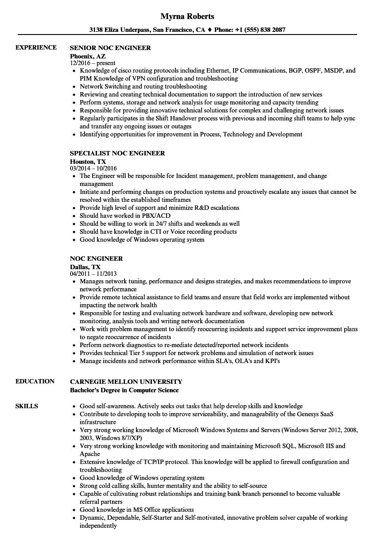 isp noc engineer resume sample