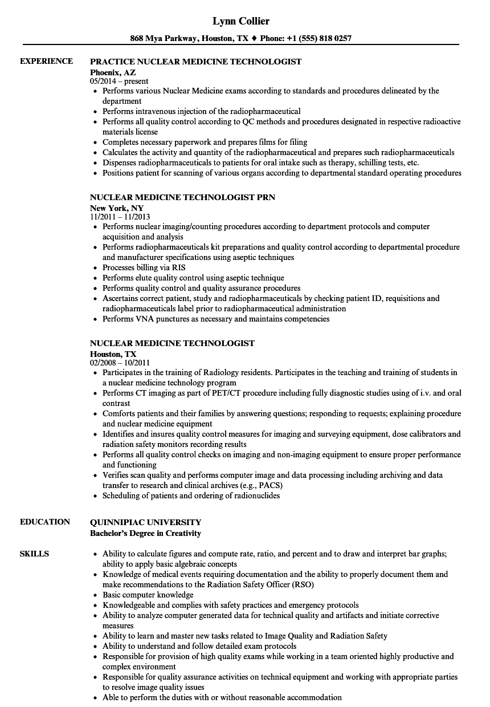 nuclear medicine technologist resume sample