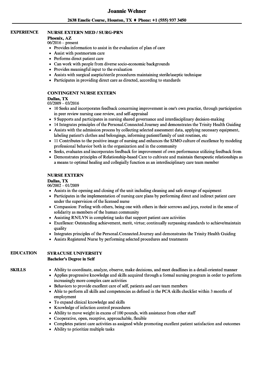 sample of nurse extern resume