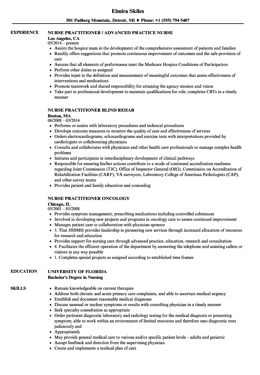 example resume for nurse practitioner