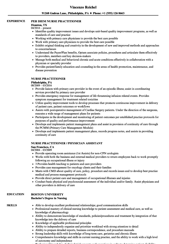cv resume template nurse practitioner