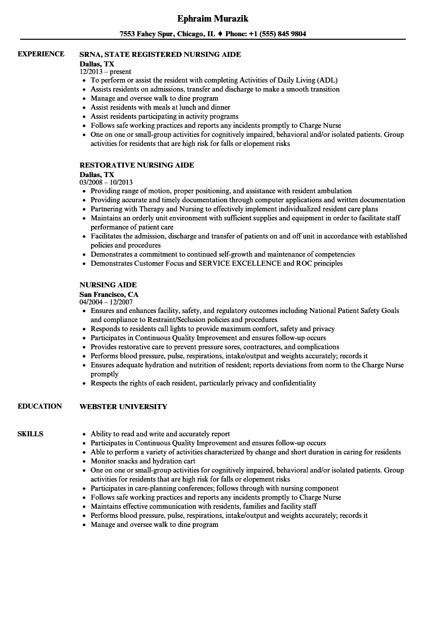 nursing aide resume sample