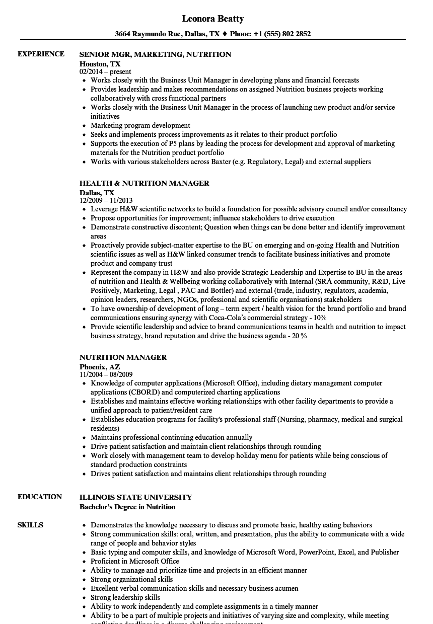 sample resume dietetics