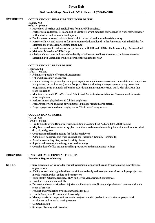 resume sample for experience nurse