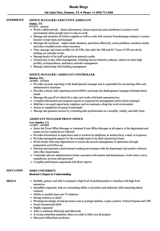 sample resume back office manager