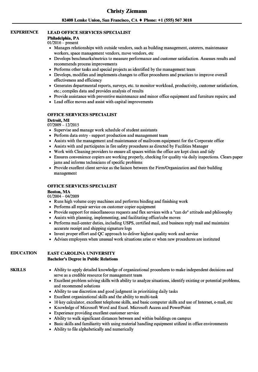 resume examples office jobs