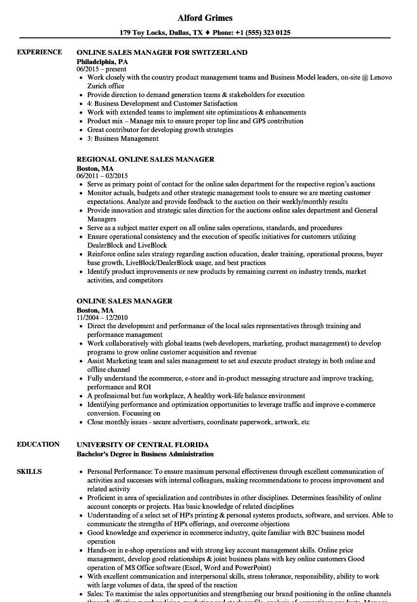 online sales executive resume samples