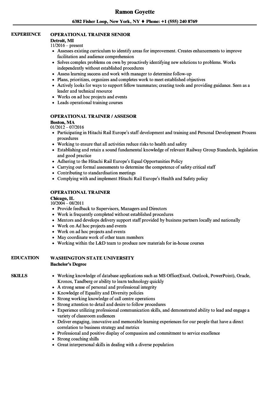 sample resume for sales trainer