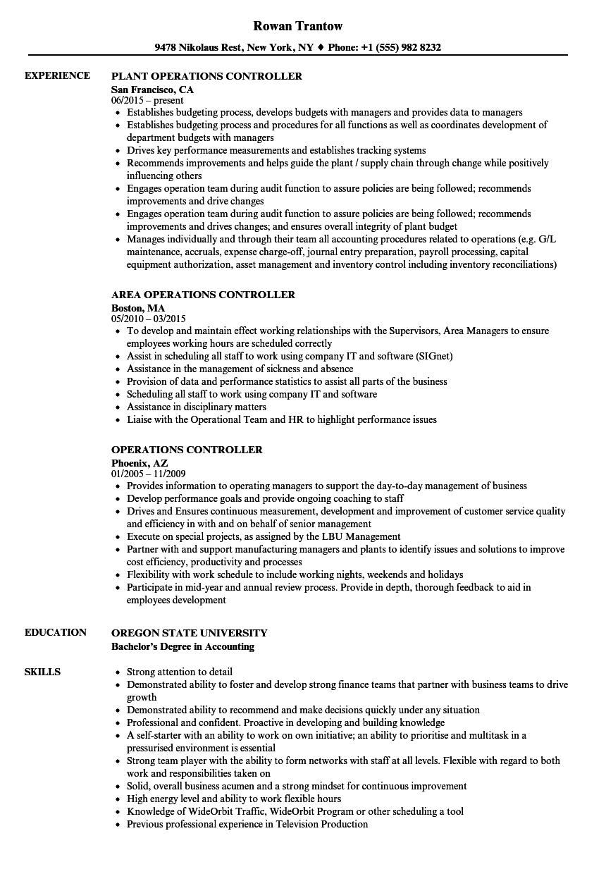 material controller resume examples