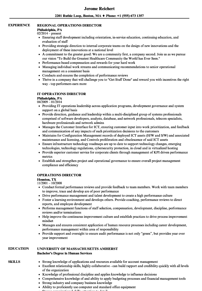 business director of operations resume examples