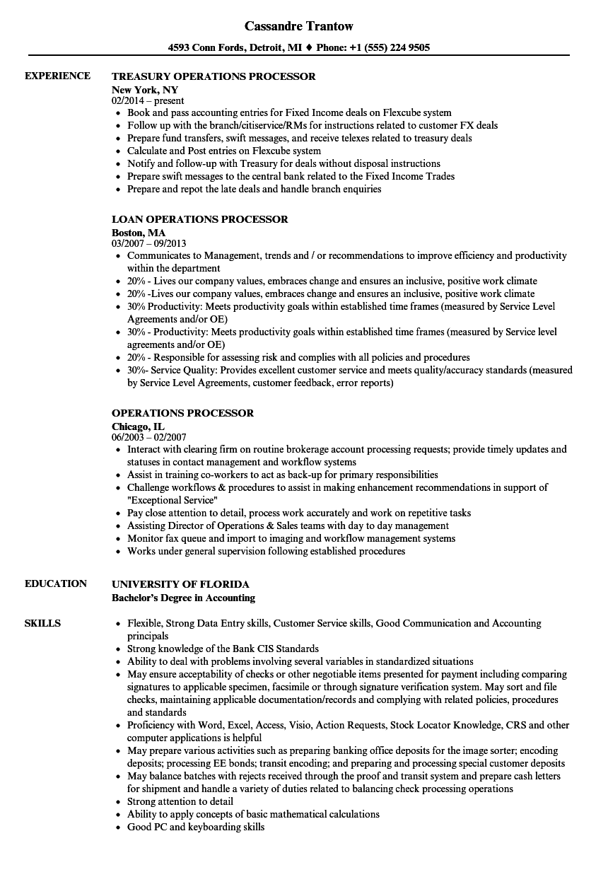resume job experience order
