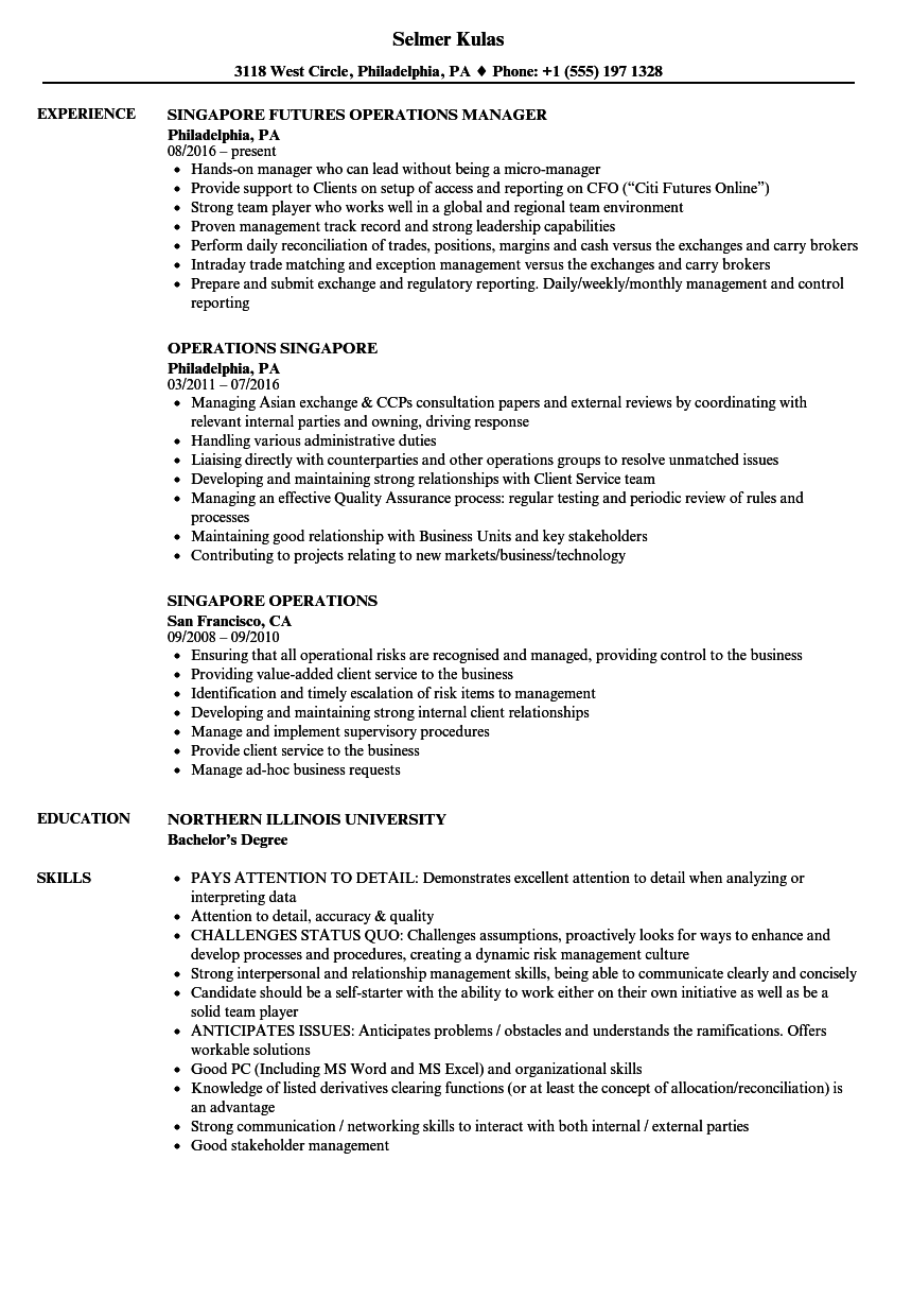good resume examples singapore