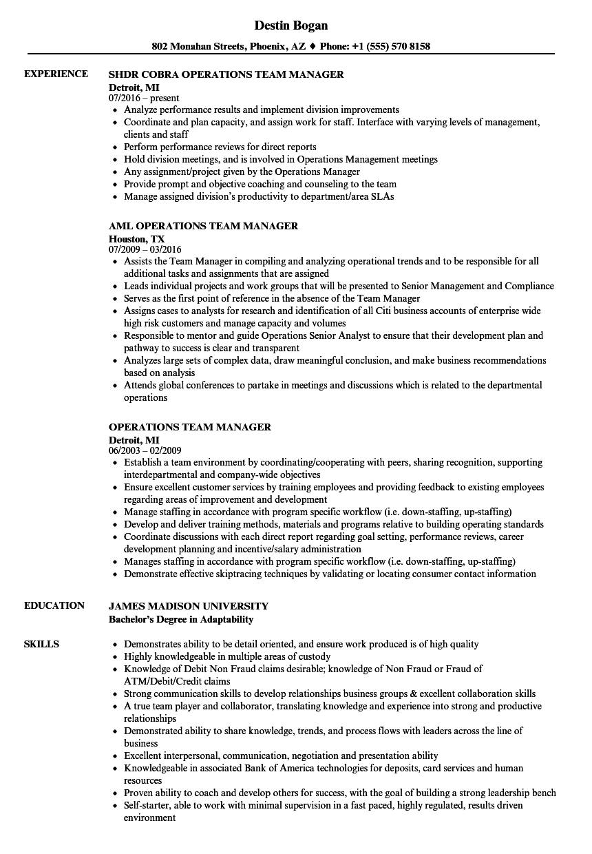 resume examples for team manager