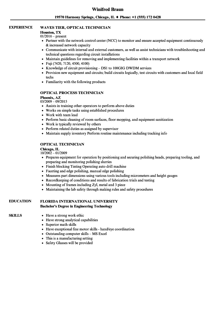 optical resume examples