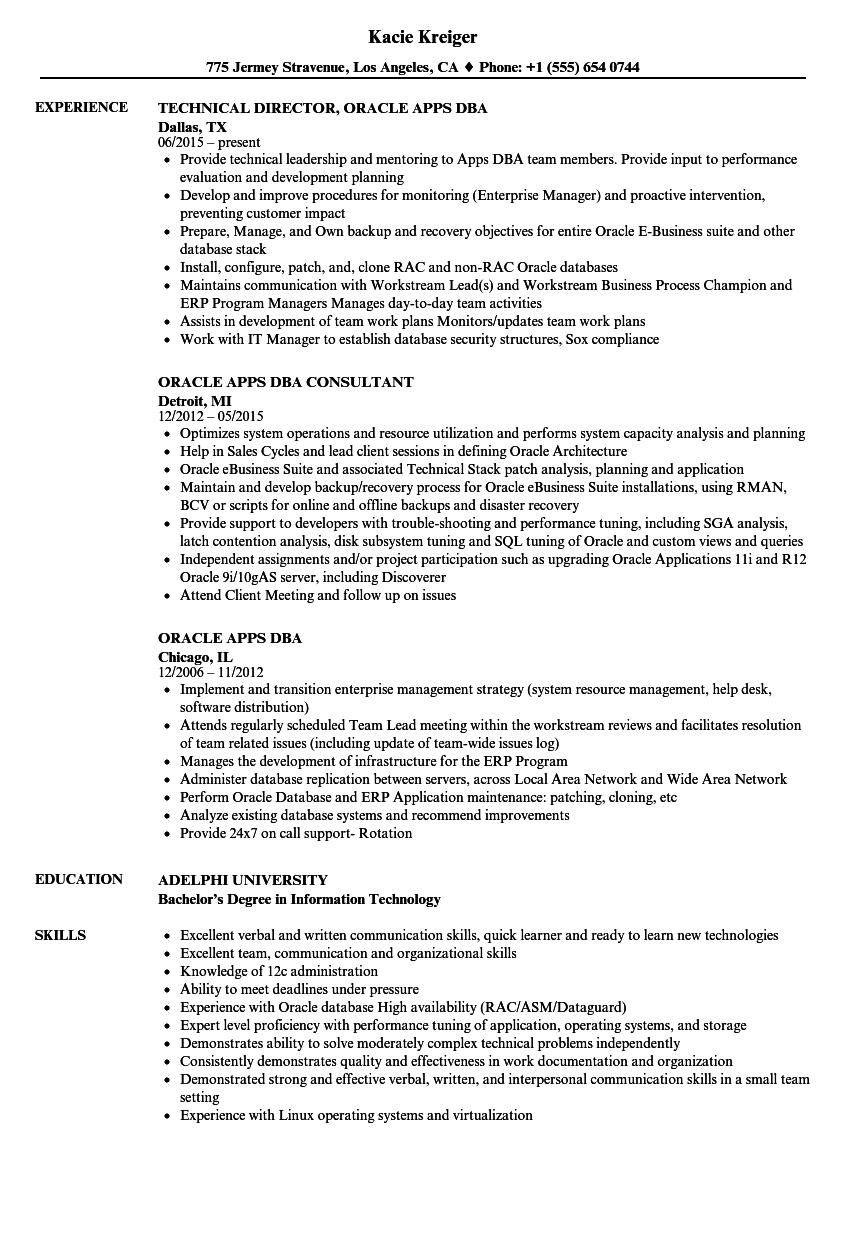 oracle database developer resume sample