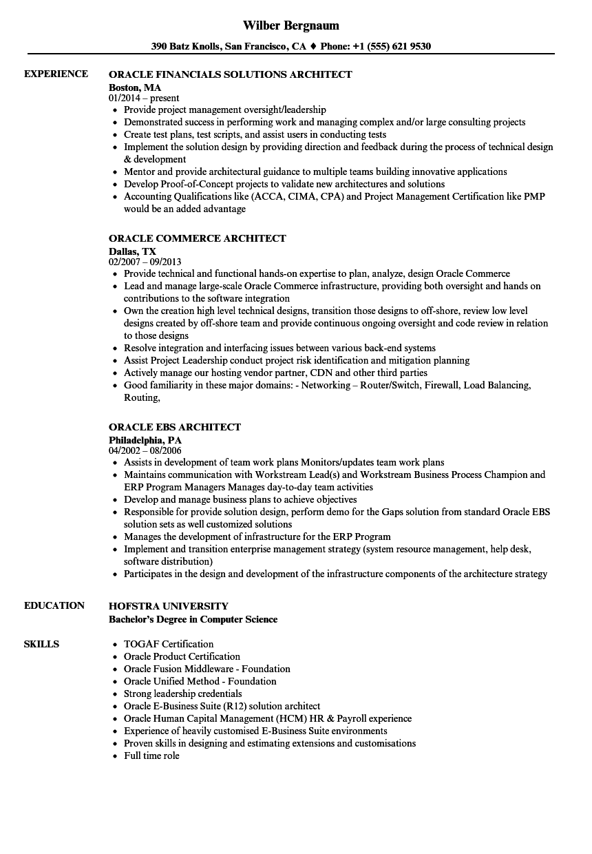 oracle architect sample resume