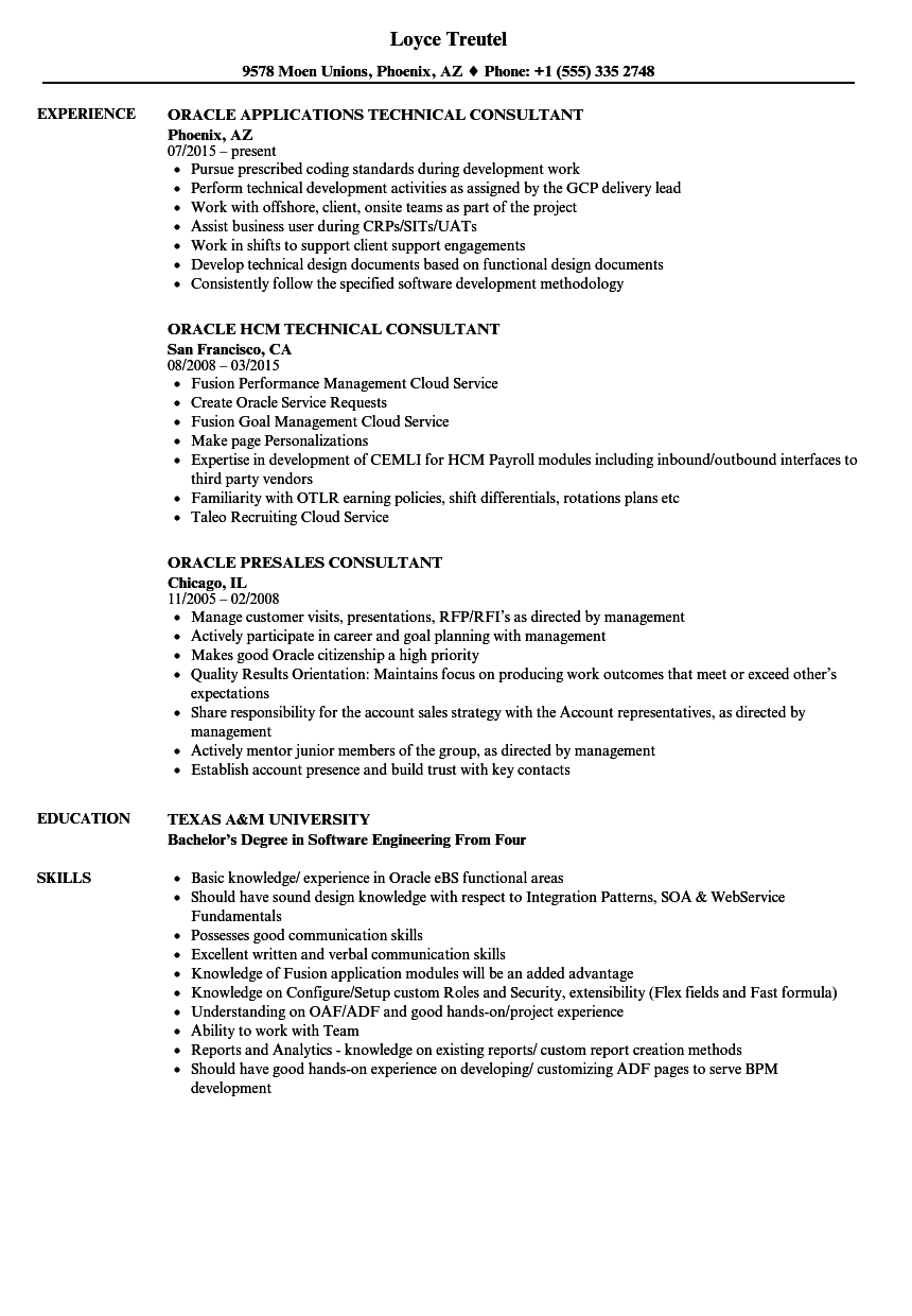 oracle hcm consultant resume sample