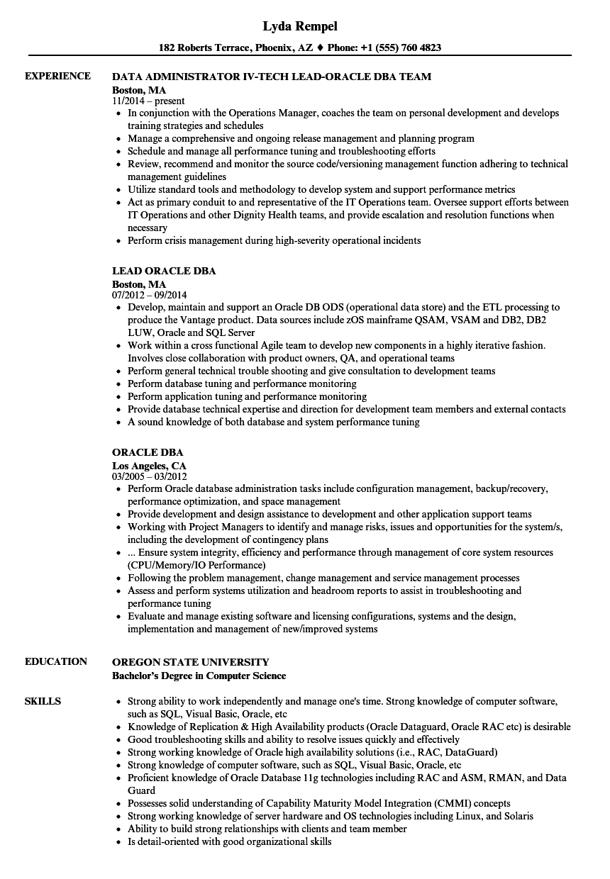 oracle dba manager resume sample