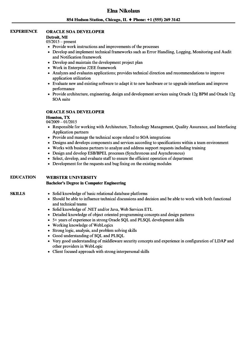 oracle adf developer sample resume