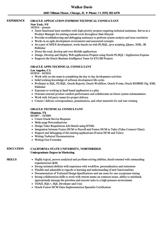oracle experience resume sample