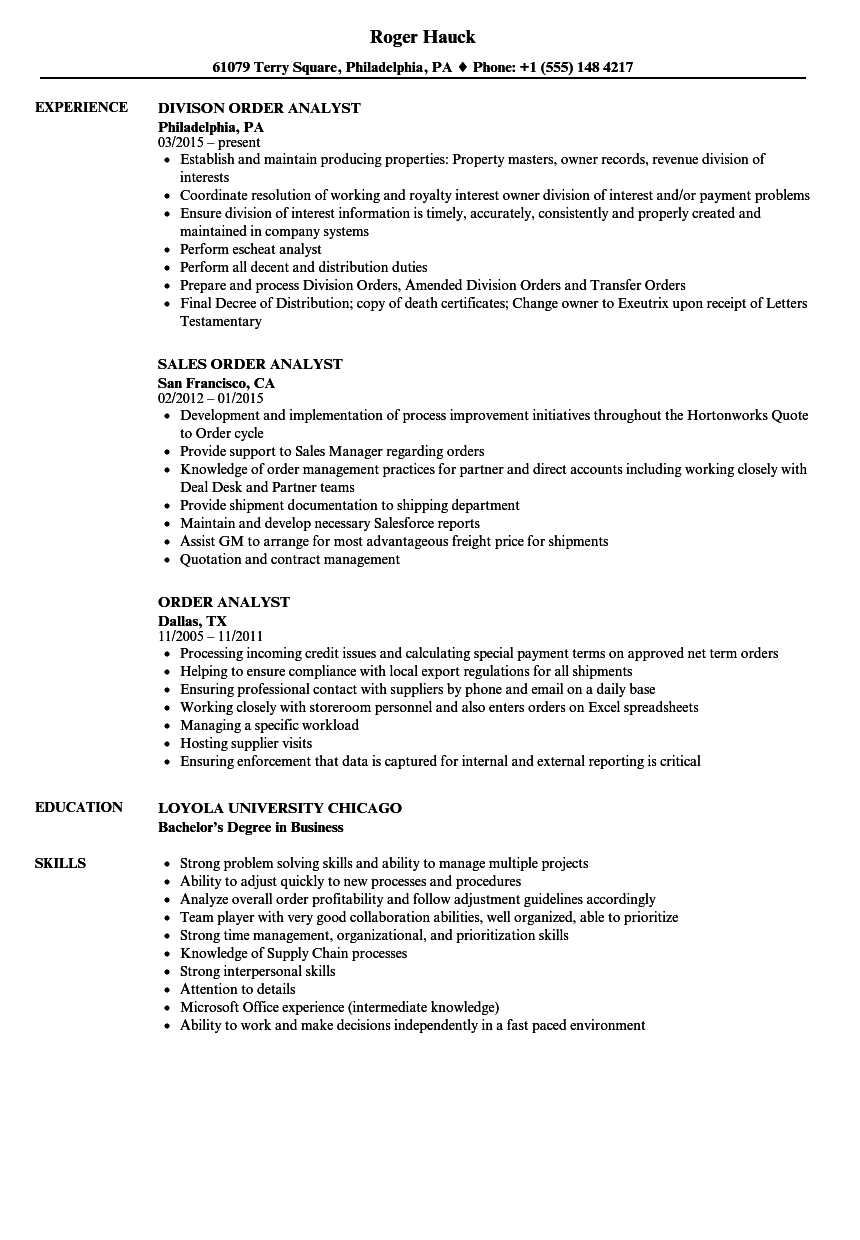 sample resume for account analyst