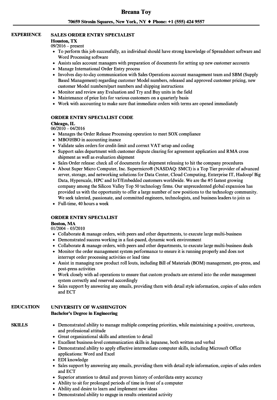 order specialist resume